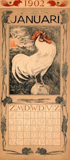 illustration : oiseau, Coq et souris, Theo Van Hoijtema - Calendrier janvier 1902