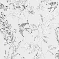 sibylla garden - black and white wallpaper