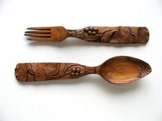 Hand Carved Fork and Spoon Black Forest Decorative Art Antique Swiss Cutlery Wooden 1900/20