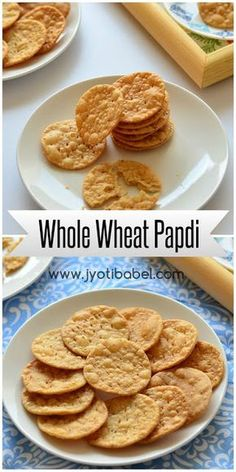 The recipe of whole wheat papdi I am sharing here is maida/refined flour free. They are crispy and crunchy and tastes great it self and can be also used for making indian chaats. Check out my whole wheat papdi recipe here. Healthy Indian Snacks, Vegetarian Snacks, Savory Snacks, Indian Food Recipes, Snack Recipes, Cooking Recipes, Vegetarian Biryani, Gujarati Recipes, Cooking Tips