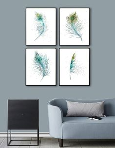 SET of Four Blue Feathers Watercolor Art Prints by QPrints on Etsy