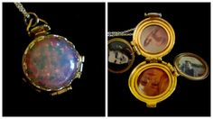 Harlequin Opal Locket  Silver and Gold by basilthecat on Etsy