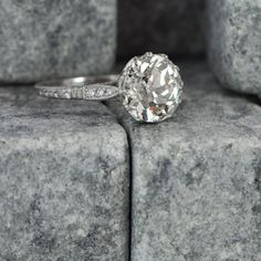 Vintage Diamond Solitaire Engagement Ring - Antique and Estate Ring.