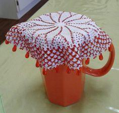 Beaded milk jar doilie / melkbeker doilie Doilies Crochet, Beaded Crochet, Lace Doilies, Doily Patterns, Milk Jug, Crochet Home, Lampshades, Bingo, Cloths