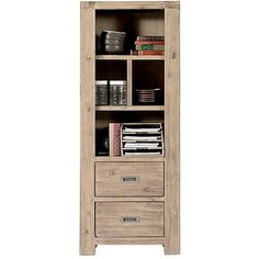 Tall brushed acacia with white stain bookcase which is practical and elegant. With 2 low level drawers and 2 fixed shelves it is perfect for storing books and o...