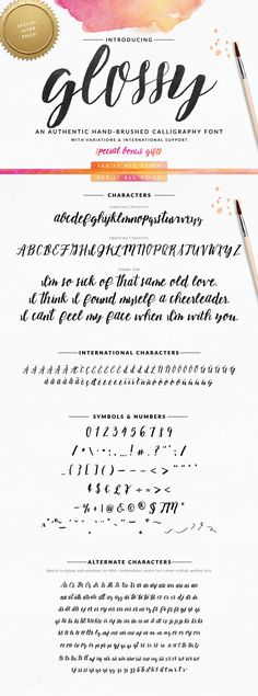 Glossy Script Hand Brush Type Font by @hollymccaig #font #handletter