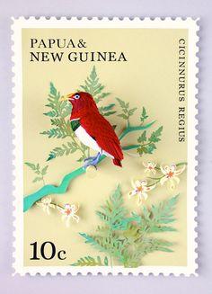 Esta diseñadora colombiana crea sellos con pájaros hechos de papel