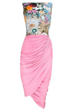 #SIDDARTHATYTLER Floral printed pink drape dress available only at Pernia's Pop-Up Shop.