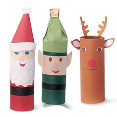 Christmas characters (Santa, Elf, Rudolf, Angel/Fairy, Snowman, Nutcracker) from toilet paper. Looks like a fun kids craft.