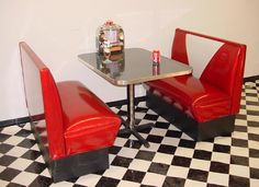 My dream kitchen seating- glitter diner booth and table- replete with tabletop jukebox!