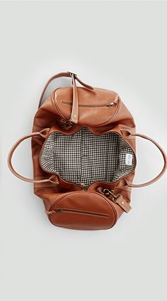 LEATHER DUFFLE BAG BROWN - Leather Goods