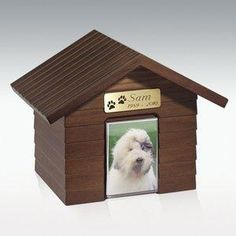 Cottage Dog House Pet Cremation Urn - Walnut Honor your beloved pet with this beautiful urn. Creates an attractive in home memorial for your beloved pet