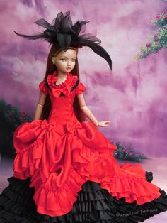 Black and red victorian gown for Ellowyne Wilde 16 inch Tonner doll.