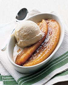 Brown Sugar Rum Bananas and Ice Cream Dessert: Bananas are cooked in a buttery brown-sugar sauce; rum is added and ignited just before serving (the flames burn off the alcohol, leaving the flavor behind). Ice cream melts into the warm glaze.