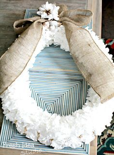 coffee filter wreath by fresh idea studio ~ adore! #diywreath #diypaperflowers