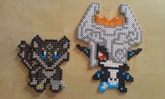 A working duo by RavenTezea.deviantart.com on @deviantART Midna and little Wolf-Link ^-^ Not my own design The Wolflink design belongs to Foxstripe on deviantART Made with NABBI perler beads