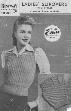 Vintage 1940's Knitting Pattern Ladies by KitandCaboodleCrafts