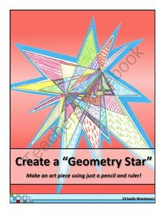 "I'm going to use this for Christmas. It looks so festive. Create a Geometry Star from Virtually Montessori on TeachersNotebook.com (6 pages)  - This is one of my favorite back-to-school activities to do with upper elementary students. It's a simple review of point, line, line segment, endpoints, angles, and ruler use, plus the ""stars"" turn into unique, colorful art work for the cla"