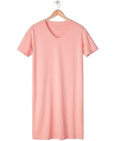 """Just the comfiest way to get cozy at the end of each day. Blissfully soft Peruvian pima cotton in an easy sleep tee—it's like a daily retreat you never want to end.   <br>•Combed pima cotton/spandex jersey  <br>•V-neck  <br>•38 1/2"""" length (for size M)  <br>•Certified by OEKO-TEX® Standard 100   03.U.9375 - FI Hohenstein  <br>•Prewashed  <br>•Imported"""