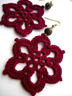 Crochet Doily flower earrings
