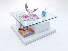 VERNA Couchtisch mit Glasplatte und Schubkasten 85 x 85 x 34 cm