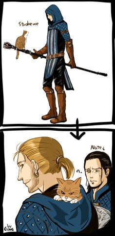 Warden Anders and Ser Pounce-a-lot and Nathaniel