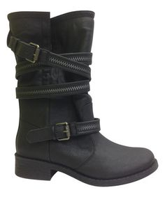 Another great find on #zulily! Black Buckle Wrap Jagger Boot by Bamboo #zulilyfinds