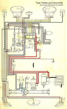 Wiring diagram in color. 1964 VW bug, beetle, convertible. The Samba