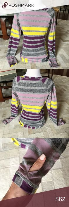 Lululemon 🍋 Race Your Pace sz 6 Gently worn and lightweight. The gathered shoulder makes it feminine and fun.  This features thumb holes and a zippered pocket. lululemon athletica Other