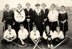 Black and white photo of one of the four 1919 University of Oregon's women's field hockey teams, taken at Kincaid Field. The pictured team, captained by Carolyn Cannon, was victorious in the four-team tournament. Picture appears on page 225 of the 1920 Oregana. ©University of Oregon Libraries - Special Collections and University Archives