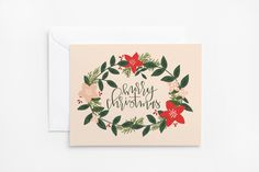 Christmas Card Set | Hand Illustrated Floral Holiday Card Set with Hand Lettered Calligraphy : Rosy Wreath Merry Christmas Cards by PrintStitchAndPaste on Etsy https://www.etsy.com/listing/203533188/christmas-card-set-hand-illustrated