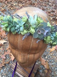 Flower crown of succulents hops and lavender by bohemianbouquets