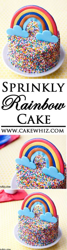 Use this step by step tutorial to make this quick and easy rainbow sprinkles cake. Great to serve at kids parties or even St. Rainbow Sprinkle Cakes, Rainbow Sprinkles, Rainbow Cakes, Girl Cupcakes, Birthday Cupcakes, Cupcake Cakes, Delicious Cake Recipes, Yummy Cakes, Novelty Birthday Cakes