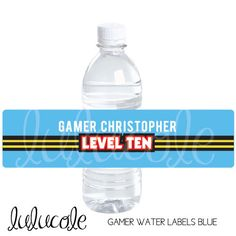 GAME TRUCK Gamer Personalized Water Bottle Labels & Sign for Classic Video Game Party - Red, Blue, Yellow - Printable by lulucole on Etsy