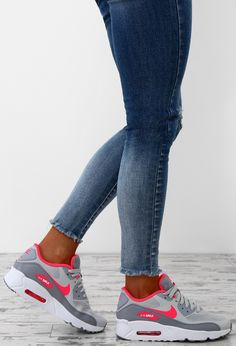 Nike Junior Air Max Platinum and Pink Trainers