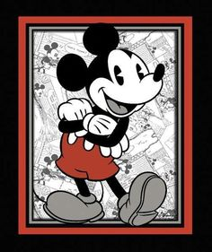 Picture of Disney Vintage Mickey Mouse Comic Strip Large Cotton Fabric Panel