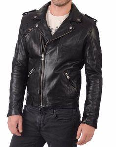 Mens Genuine Lambskin Leather Jacket Slim fit Biker Motorcycle jacket S #Handmade #Motorcycle #Perfectformotorcyclebikerandwinter