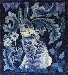 Japanese Embroidery Fish Morris Bunny - Honey Bee Hive rug hooking pattern from our CHARCO line. Morris Bunny, Designed by Jane McGown Flynn Wool Applique Patterns, Punch Needle Patterns, Embroidery Patterns, Hand Embroidery, Quilt Pattern, Rug Hooking Designs, Rug Hooking Patterns, Rug Patterns, Latch Hook Rugs