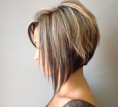 Inverse bob with highlights