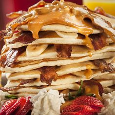 The 15 Most Epic Breakfasts in Vegas The King Mr. Lucky's (address and info) The Hard Rock A breakfast that Elvis himself would appreciate: The King is a giant stack of 14 fluffy banana pancakes, 14 strips of crispy bacon, a drizzle of creamy peanut butter glaze, and maple syrup.