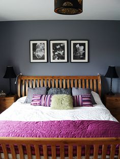 Grey walls and wood bedroom