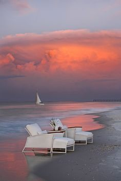 beach, lounge and sunset - life.I might face the chairs to look at ocean and sunset. Paradis Tropical, I Love The Beach, Miami Beach, Sunset Beach, Beach Fun, Miami Sunset, Beach Relax, Pink Sunset, Summer Sunset