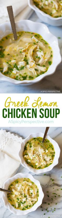 This Healthy Greek Lemon Chicken Soup Recipe is perfect for a low fat lunch!