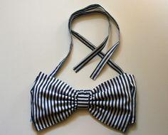 Navy Striped Bow Bandeau. $75.00, via Etsy.