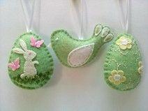 Filz-Dekoration Ostern - Eier und Vogel Set von 3