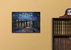 """Wall26 Canvas Print Wall Art - Starry Night over The Rhone by Vincent Van Gogh Reproduction on Canvas Stretched Gallery Wrap. Ready to Hang - 18""""x24"""""""