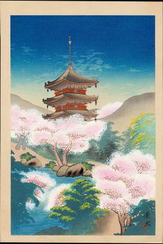 Keisui (1930s/40s/50s) - Pagoda in Spring