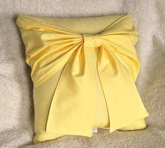 Yellow Bow Pillow  Decorative Pillow by bedbuggs on Etsy, $32.00