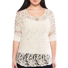 96166ba51f0 a.n.a® Lace-Front Blouse- Plus - jcpenney Plus Size Fashion