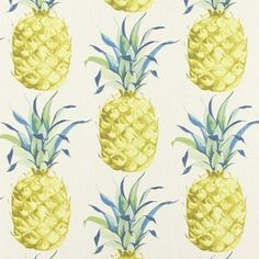 Prestigious Ananas Tropical Pineapple Fruit Fabric Material Sold Per Metre Curtains Made Simple, Made To Measure Curtains, Curtains Uk, Printed Curtains, Map Fabric, Fabric Wallpaper, Pineapple Vintage, Tropical Fabric, Pineapple Fabric